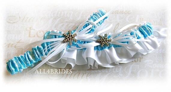 Snowflake Bridal Garters ,  Something Blue Winter Wedding Bridal Accessories