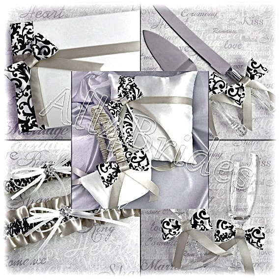 Damask Weddings basket, pillow, guest book, cake set, glasses, garters, silver grey, white and black weddings 9pc set