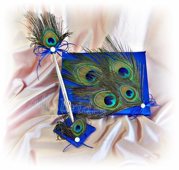 Peacock Wedding Ideas Etsy: Peacock Wedding Guest Book In Royal Blue Guest Book Pen Set