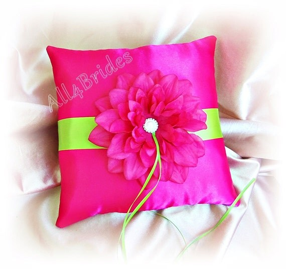 hot pink and lime green wedding ring bearer pillow