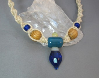 Hemp Necklace with Glass and Opal Pendant FREE SHIP