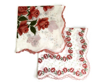 2 Vintage Handkerchiefs - Peach Roses and Carnations