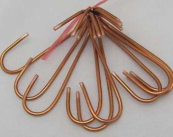 "Hand Crafted Copper ""S""  Pot Rack Hooks (set of 8). S Hooks with a twist."