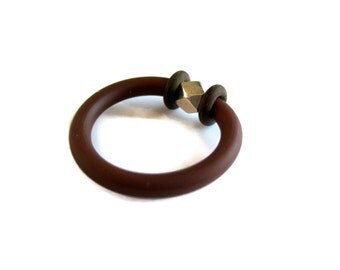 silver and brown ring,  contemporary ring, rubber jewellery by frank ideas