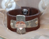 Cross & Heart Leather Cuff