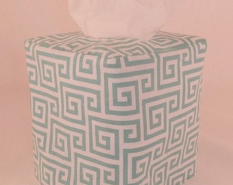Reversible Tissue Box Cover - Greek Print and Leaves in Turquoise