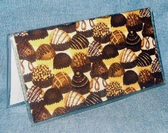 Checkbook Cover, Slim Card Case, Mini Pocket Photo Album in Chocolate Candy Fabric and Vinyl for Business, Credit, ID Cards, Pictures