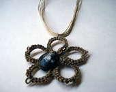 Hand Tatted Jute Daisy Necklace with Shell
