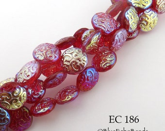 14mm Czech Glass Brocade Bead Apple Red AB Coin (EC 126) 6 pcs BlueEchoBeads