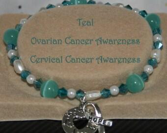 OVARIAN Cervical CANCER Awareness TEAL Stretch Bracelet Hope Ribbon Heart Charm