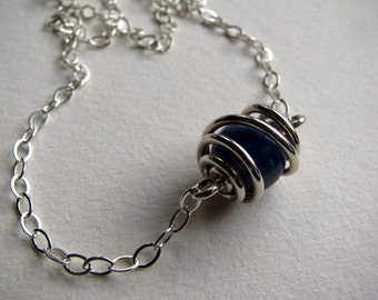 Wire Wrapped Sterling Silver Bead Necklace, Blue Aventurine Focal Gemstone Bead, Handmade Jewelry