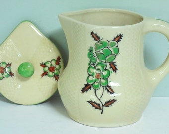 SALE! Small Covered Pitcher for Syrup, Cream or Honey with Hand Painted Green and Brown Flowers, Made in Japan