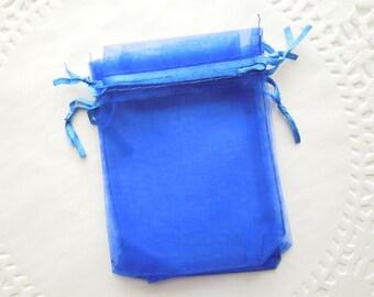 Cobalt Blue Fabric Favor Bags  Blue treat bag  Organza Bag  Party ...