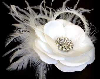 Ivory Bridal Fascinator, Rustic Wedding Headpiece, Feather Fascinator, White Flower Hair Clip,  RACHEL