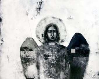 Archangel Michael - drawing with silver leaf