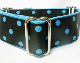"""1.5"""" Torquoise Polka Dots on Black Woven Ribbon Greyhound, Whippet, Galgo, Martingale Collar"""