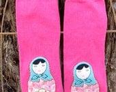 Pink MATRYOSHKA Embellished BABY Girl Leg Warmers Newborn to Toddler