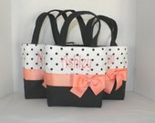 3  Black / white  Polka Coral  Dotted  Monogrammed/Personalized Tote, Purse, Bridesmaid Gift, Flower Girl,