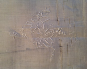 30s Linen Tablecloth Napkin Set White on White Embroidery 60 By 80 Set of 12