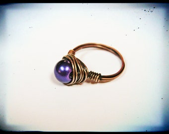 Copper Wire Wrapped Bright Royal Purple Glass Pearl Cocktail Ring