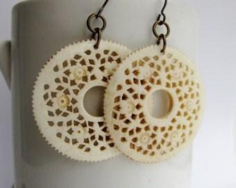 Carved Bone Medallion Earrings