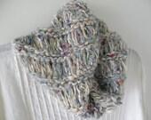 Cowl scarf neckwarmer, women's hand knit hood, hand spun blue white gray beige wool, stretch wide dread head wrap, wool cotton crochet i798