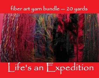 Fiber art yarn bundle samples, shades of deep red, 20 yards red black Christmas Valentine's Day ribbon holiday scrapbooking i708