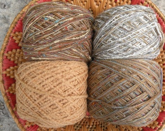 30% off yarn lot worsted DK 4 skeins, 400 yards, TAOS brown gray beige gold tan cotton wool blends, knitting crochet Life's an Expedition