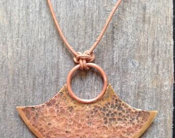 Brass axe blade necklace