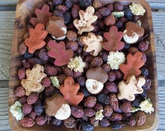 Rustic Country Grubbied Spice Leaves and Acorns, Country Primitive, Farmhouse Decor, Autumn, Fall Decor, Potpourri Add-in