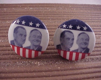 Political Cuff Links Johnson Humphrey Campaign Buttons - Free Shipping to USA