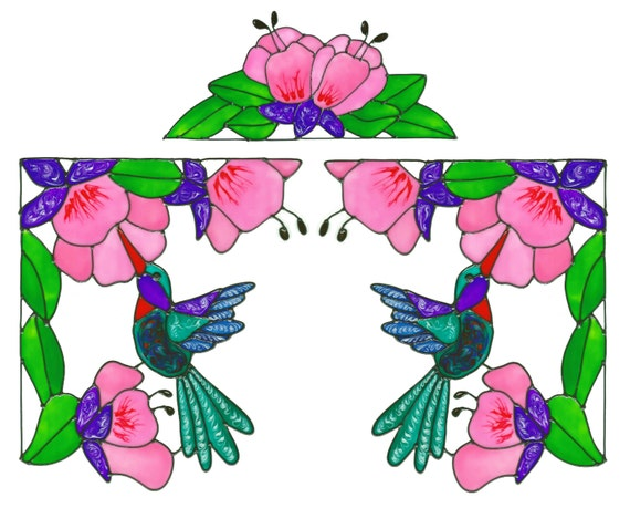 Hummingbird Floral Corner Window Cling Set