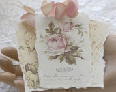 little lambs and roses - rose petaled art tags