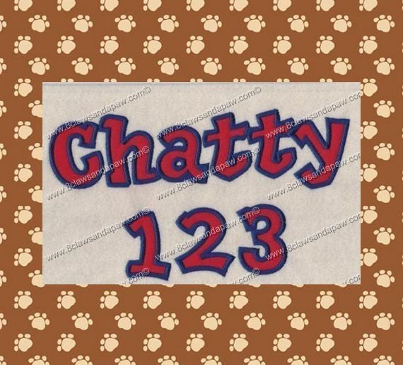 Chatty Applique Machine Embroidery Font in 3 Sizes