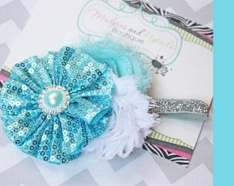 Cinderella Princess baby headband { Winter Frost } silver, aqua, white Flower, glitter elastic, firstbirthday, cake smash photography prop