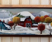 Hand Painted Wall Decor Folk Art Village Autumn Snow