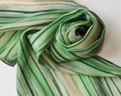 Hand Painted Silk Scarf - Handpainted Scarves Green Tan Garden Hunter Avocado Dark Cream Beige Forest