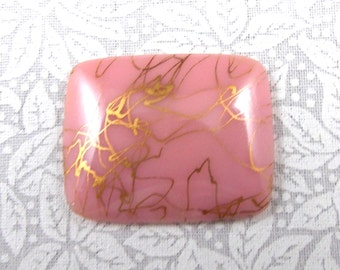 Vintage Pink Drizzle Cabochon, Rectangular, 28X22 mm