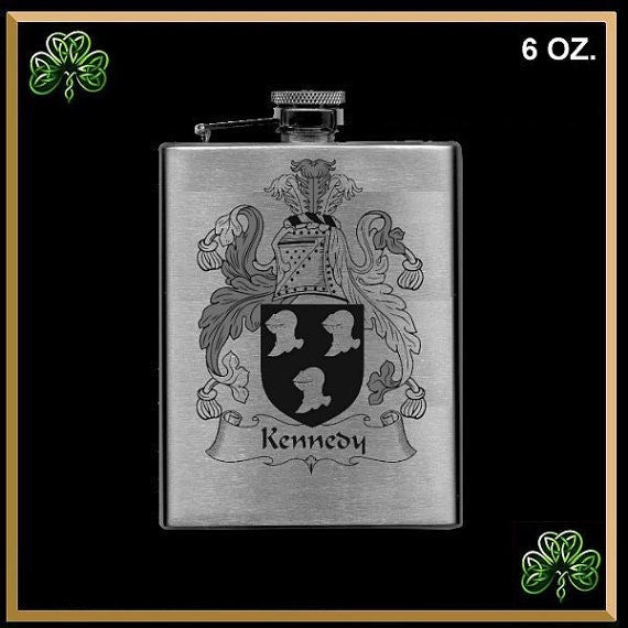 Irish 6oz Coat Of Arms Lasered Flask, Family Crest Hip Flask - All Names