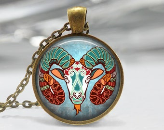 Aries Zodiac Glass Pendant - Aries Zodiac Jewelry - Zodiac Necklace - Art Pendant - Zodiac Necklace -Zodiac Charm,Astrology Pendant
