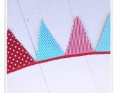 Circus Banner, Carnival Banner, Circus Bunting, Red, Teal, Stripes, Polka Dots Fabric Banner, Birthday Decor, Pennant Flags, 9 flags