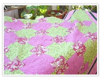 Sale 20 percent off         Twin size Quilt, Celtic Cross Quilt, 66x79, pinks and greens, patchwork quilt, machine quilted, roses