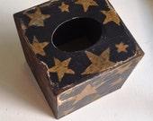 Paper Mache Primitive Black and Mustard Tissue Box