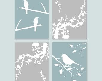 Bird Cherry Blossom Bedroom Art Quad - Set of Four 8x10 Coordinating Prints - Modern Nursery Art - CHOOSE YOUR COLORS