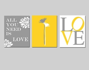 All You Need Is Love - Set of Three Modern Floral Coordinating 8x10 Prints - Wall Art - CHOOSE YOUR COLORS - Shown in Yellow, Gray and White