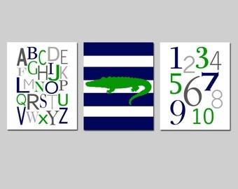 Baby Boy Nursery Art - Striped Alligator, Modern Alphabet, Numbers - Set of Three 8x10 Prints - CHOOSE YOUR COLORS