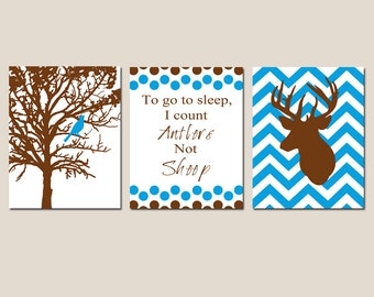 Baby Boy Nursery Art Trio Set of Three 8x10 Prints Bird in a Tree, To Go To Sleep I Count Antlers Not Sheep, Chevron Deer CHOOSE YOUR COLORS