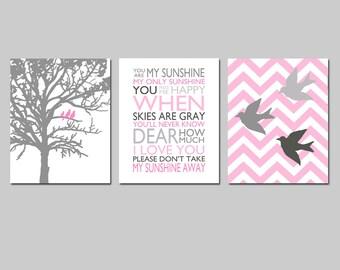 Baby Girl Nursery Art Trio - Set of Three 11x14 Prints - Chevron Birds, You Are My Sunshine, Three Birds in a Tree - Choose Your Colors