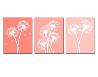 Modern Dandelion Trio - Set of Three 8x10 Coordinating Floral Prints - CHOOSE YOUR COLORS - Shown in Coral Pink Ombre and More