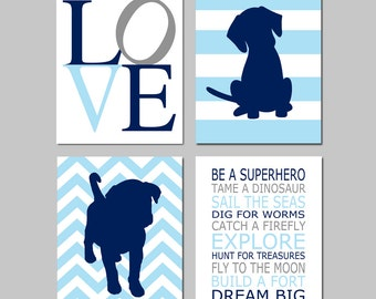 Baby Boy Nursery Art - Love, Chevron Stripe Puppy Dogs, Be a Superhero Quote - Set of Four 8x10 Prints - CHOOSE YOUR COLORS